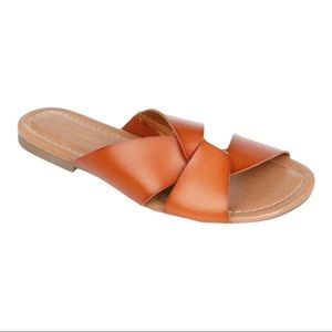 Ava and Grace Brown Double Strap Flat Sandals NWT